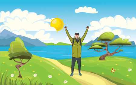 A young happy man, backpacker with raised hands on the seaside. Hiker and Explorer. A symbol of success. Vector Illustration. Иллюстрация