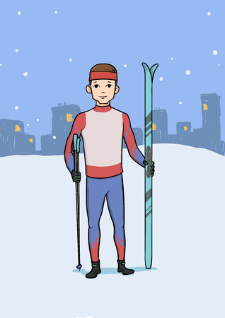Cross country skiing, winter sport. Young happy man with skis standing on the background of the evening city. Vector illustration. Иллюстрация
