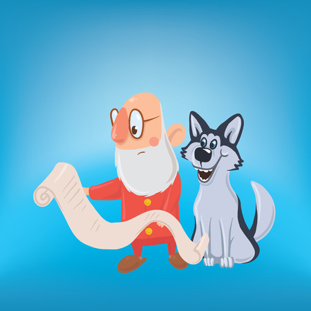 Happy laughing Santa Claus with dog. New year and Christmas cards for year of the dog according to the Eastern calendar. Vector Characters Illustration.