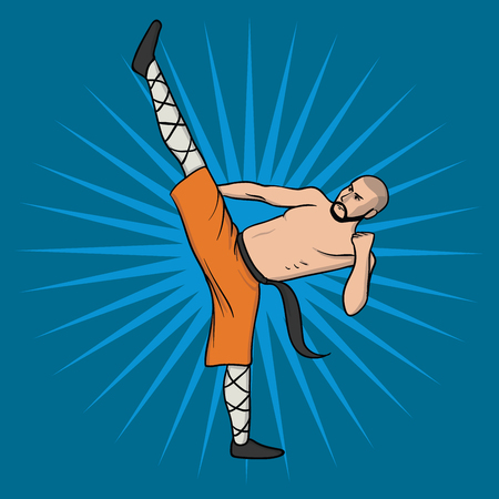Shaolin monk practicing kung fu or wushu. Kung Fu hieroglyph. Martial art. Vector illustration, isolated on blue background. Фото со стока - 123746007