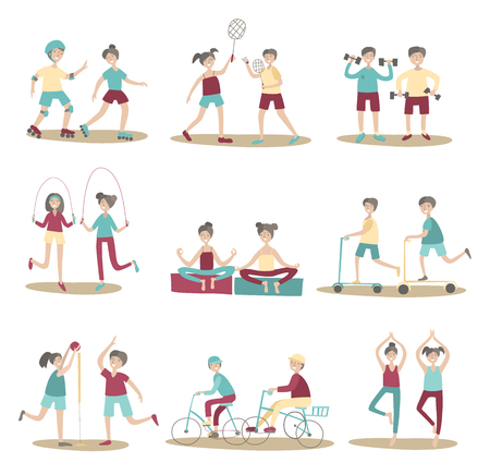 Joint sport activities, young people having fun together. Active lifestyle, sports outdoors. Set of poses and characters. Flat vector illustration. Isolated on white background.