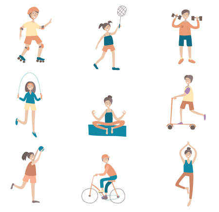 Active lifestyle, sports entertainment outdoors. Set of poses and characters. Flat vector illustration. Isolated on white background. Иллюстрация