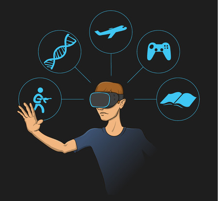 Young man wearing virtual reality head-set with virtual items around him. Flat vector illustration on black background.