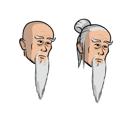 Head of an old asian men, cartoon isolated vector illustration. Set of two heads, isolated obn white background.