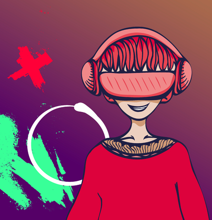 Young man with virtual reality headset on vivid colorful abstract background. VR and cartoon character. Flat vector illustration.