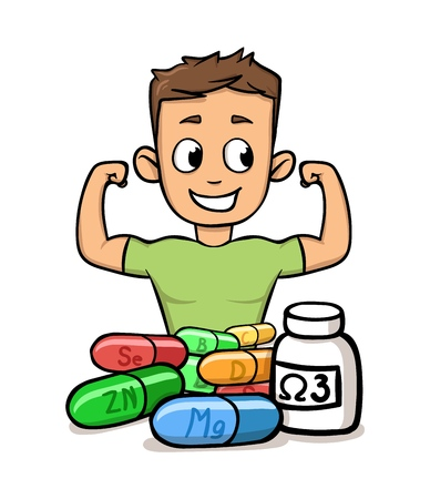 Smiling boy flaunting his muscles with micro elements and supplements in front of him.