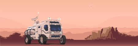 Mars  vehicle on alien planet landscape Иллюстрация