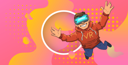 Young guy in VR headset flying on colorful abstract neon background with circle in the middle. Happy kid playing in virtual reality. Colorful flat vector illustration. Horizontal. Иллюстрация