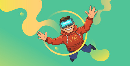 Young guy in VR headset flying on abstract green and yellow background. Happy kid playing in virtual reality. Colorful flat vector illustration. Horizontal. Иллюстрация
