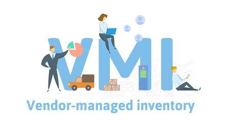 VMI, zapasy zarządzane przez dostawcę. Koncepcja ze słowami kluczowymi, literami i ikonami.