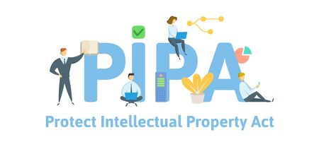 PIPA, Protect Intellectual Property Act. Concept with people, keywords and icons. Illustration