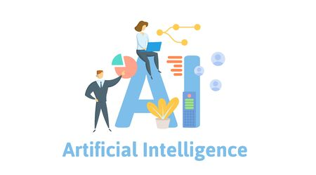 AI, artificial intelligence. Concept with people, letters and icons.
