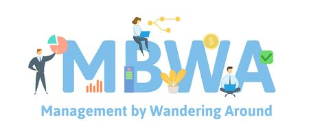 MBWA, Management by Wandering Around. Concept with people, letters and icons Çizim