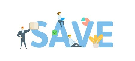 SAVE. Concept with people, letters and icons. Иллюстрация