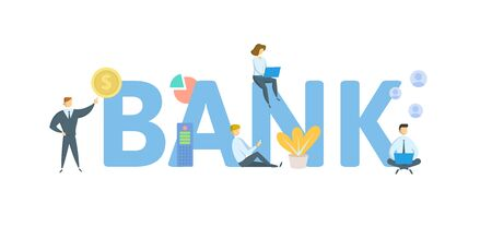 BANK. Concept with people, letters and icons. Çizim
