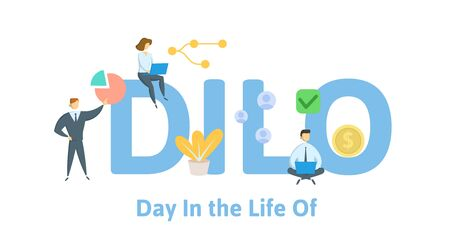 DILO, Day in the Life Of. Concept with people, letters and icons. Colored flat vector illustration. Isolated on white background.