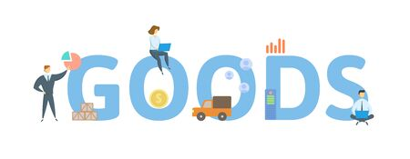 GOODS. Concept with people, letters and icons. Colored flat vector illustration. Isolated on white background. Ilustrace