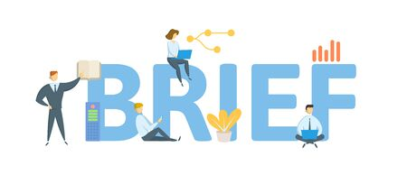 BRIEF. Concept with people, letters and icons.