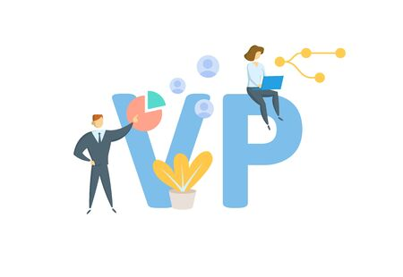 VP, Vice-President. Concept with people, letters and icons. Banque d'images - 129243670