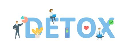 DETOX. Concept with people, letters and icons. Archivio Fotografico - 129243674