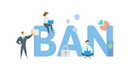 BAN. Concept with people, letters and icons. Colored flat vector illustration. Isolated on white background. 写真素材 - 128146293