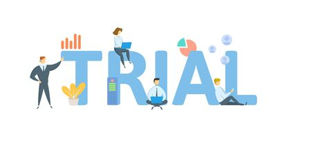 TRIAL. Concept with people, letters and icons. Colored flat vector illustration. Isolated on white background. Stok Fotoğraf - 128146302