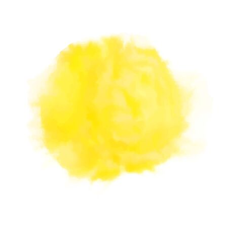 Vector yellow watercolor sun, isolated on white
