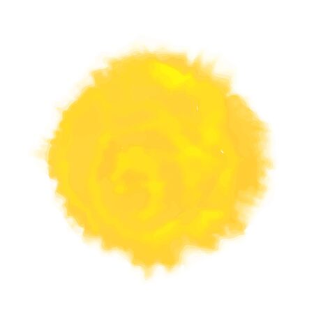 Vector yellow watercolor sun, isolated on white background. Illustration. Çizim