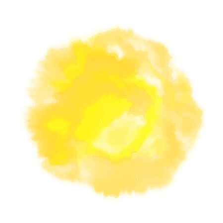 Vector yellow watercolor sun, isolated on white background. Illustration. 写真素材 - 132690047