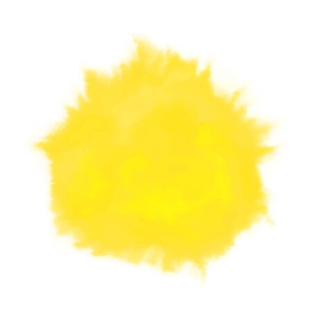 Vector yellow watercolor sun, isolated on white background. Illustration. 写真素材 - 132690256