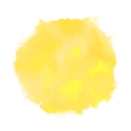 Vector yellow watercolor sun, isolated on white background. Illustration. 写真素材 - 132803353