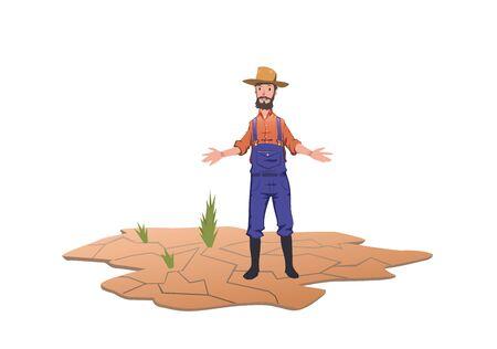 Bauer steht neben grünen Sprossen auf einem trockenen Feld. Konzept der Dürre, der globalen Erwärmung, des Wassermangels, der Bewässerung. Vektorillustration, lokalisiert auf weißem Hintergrund.