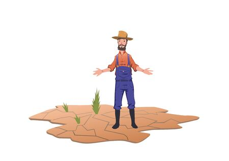 Farmer standing next to green sprouts on a dry field. Concept of drought, global warming, lack of water, irrigation. Vector illustration, isolated on white background. Ilustração