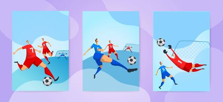 Football players on abstract cloudscape background. Soccer game. Set of vertical posters or cards. Flat vector illustration.