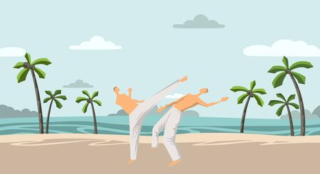 Two men practicing capoeira or karate on the beach with coconut trees. Flat vector illustration.