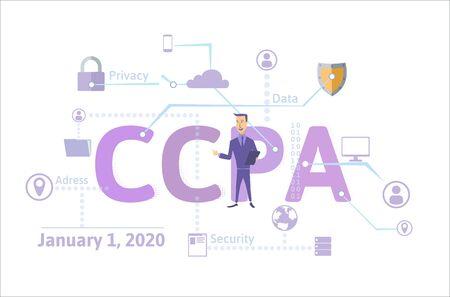 CCPA, California Consumer Privacy Act. Sécurité des données aux États-Unis, protection des données personnelles des consommateurs. Illustration vectorielle de concept. Style plat, horizontal.