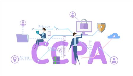 CCPA, California Consumer Privacy Act. USA data security, consumer personal data protection. Concept vector illustration. Flat style, horizontal.