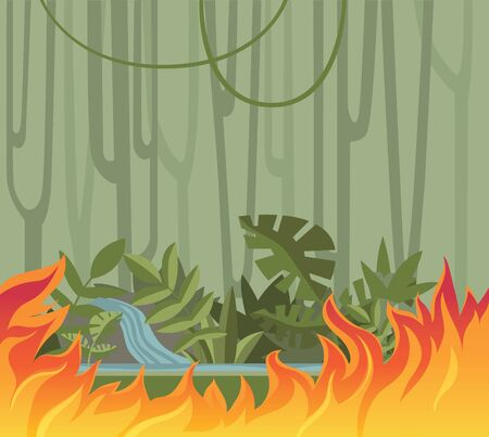 Tropical forest fire, wild fire in the jungle. Flat vector illustration.