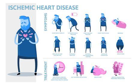 Infografiken für ischämische Herzkrankheiten. Anzeichen, Symptome, Behandlung. Informationsplakat mit Text und Charakter. Flache Vektorillustration, horizontal auf weißem Hintergrund. Vektorgrafik