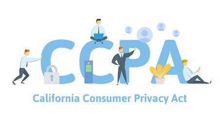 CCPA, California Consumer Privacy Act. USA data security, consumer personal data protection. Concept vector illustration. Flat style. Vetores