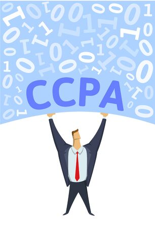CCPA, California Consumer Privacy Act. Strong man holding bulk of digital data above his head on white