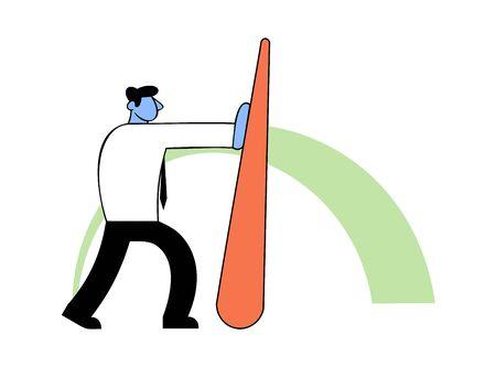 Benchmarking, business concept vector illustration. Strong Businessman pushing needle indicator. Ilustração Vetorial