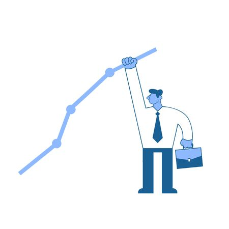 Businessman in white shirt reaching out to the highest point on the graph. Achieving goals, success. Concept flat vector illustration, isolated on white background.