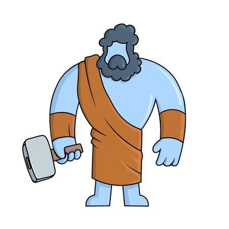 Hephaestus, ancient Greek god of blacksmith and fire. Ancient Greece mythology. Flat vector illustration. Isolated on white background.