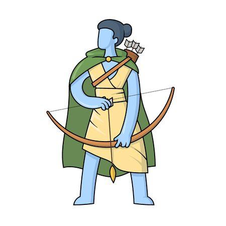 Artemis, ancient Greek goddess greek of the hunters. Ancient Greece mythology. Flat vector illustration. Isolated on white background.
