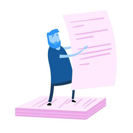 Cartoon casual man holding big paper form standing upon pile of documents. Cartoon design icon. Flat vector illustration. Isolated on white background.  イラスト・ベクター素材
