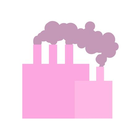 Industrial plant with pipes and smoke icon. Flat colored vector illustration. Isolated on white background.