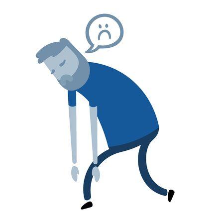 Cartoon guy in depression. Cartoon design icon. Colorful flat vector illustration. Isolated on white background. Ilustração