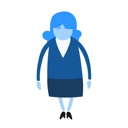 Cartoom woman character in business suit. Cartoon design icon. Flat vector illustration. Isolated on white background.