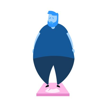 Overweight sad man standing on scales. Obesity. Cartoon design icon. Colorful flat vector illustration. Isolated on white background.